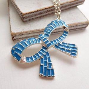 Turquoise Blue Silver Ribbon Bow Pendant Necklace